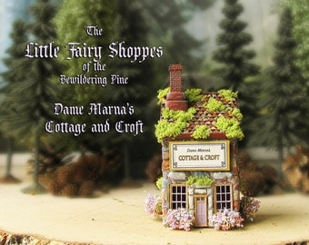 The Fairy Shoppes of The Bewildering Pine - Dame Marna's Cottage and Croft Boutique - Chimney - Flower Boxes - Mossy Roof - Terrarium Decor