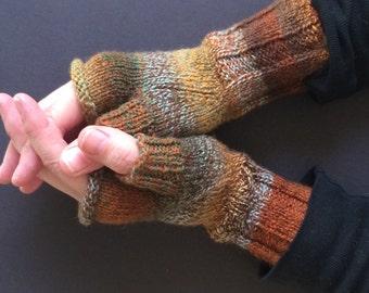 Fingerless Gloves - Hand-Knit Gloves - Women's Fingerless Gloves - Half Gloves - Earth Tones - Tweed Gloves - Women's Winter Gloves