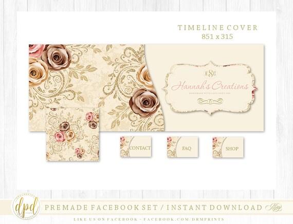 Premade DIY Facebook Set | Facebook Timeline | Facebook Package | Facebook Graphics | Business Branding | INSTANT DOWNLOAD-AV923