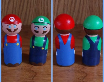 Peg People: Mario and Luigi set