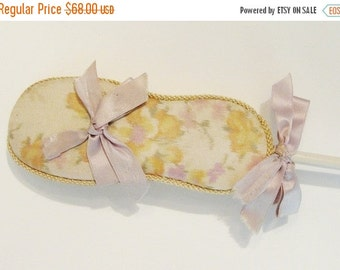 ON SALE Antique Watered Silk Roses Ribbon Powder Puff Wand