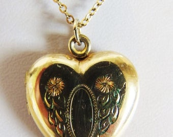 ON SALE Pretty Vintage 12K Gf Heart Locket Necklace