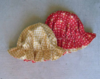 RESERVED FOR ANGELA Reversible French Vintage Floral Little Miss Muffet Hat, 2-8 Years, In Stock and Ready to Ship