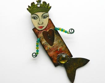 Mermaid brooch, Mermaid doll brooch, Mermaid art brooch, Quirky brooch, Whimsical brooch, Mermaid pin, Mixed media mermaid, Mermaid jewelry