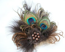 Small and Dainty Shades of Chocolate Brown Peacock Feather & Pearl Vintage Mini Fascinator Hair Clip - Ready Made