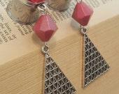 Triangle Geometric Pink Dangle plugs Gauges Wedding Prom Gauges p437 2g, 0g, 00g