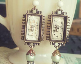 Victorian Man Steampunk Vintage Watch Part Jewelry Dangle Earrings Upcycled Recycled Assemblage