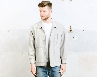 Men's Bomber Jacket . Vintage 90s Grunge Grey Jacket Zip Up Unisex Lightweight Jacket 90s Clothing Spring Jacket Retro . size Large