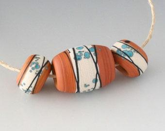 Southwest BHB 5mm Set - (3) Handmade Lampwork Beads - Cream, Terracotta, Turquoise - Etched, Matte