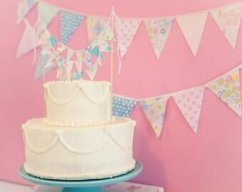 Pink Fabric Bunting, Nursery Bunting, Baby Girl Bunting, Pink and Blue Garland, Pastel Garland, Fabric Garland Shabby Chic, Girl Baby Shower