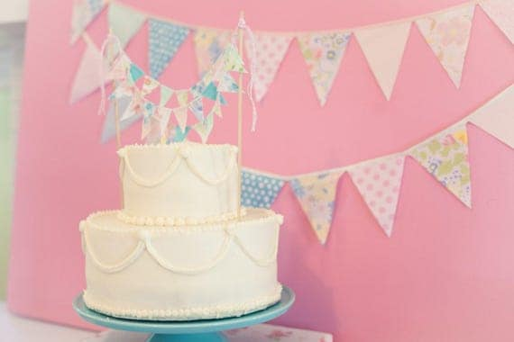 Pastel Pink and Blue Bunting Garland