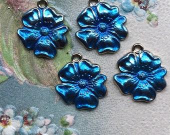 Capri Blue Vintage flower Charms,Enamel Flower charms,flower Drops,Blue flower charms,enameled flowers, Rose Charms, Drops Dangles #984 B4