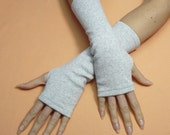 Classic Jersey Armwarmers in Pale Grey, Fingerless Gloves, Dance, Streetwear, Women Sleeves with Thumb Holes, Funky, Spring
