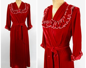 1940s Red Velvet Dressing Gown - Wine Red Blood Red - Wine Colored Robe - Boudoir Red and White 40s 50s