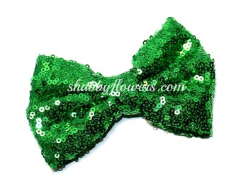 4 inch LARGE Sequin Bows, Baby Sequin Bows, 4 inch Sequin Bows, Wholesale Bows - Green bow
