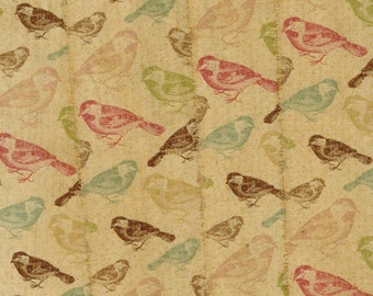 birds fabric tea dyed handmade trim vintage birds red blue green peach ribbon  sewing craft . 1091 . ....oohlala