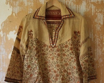 20% OFF SALE vintage. Cotton Bohemian Indian Tunic  // S to M