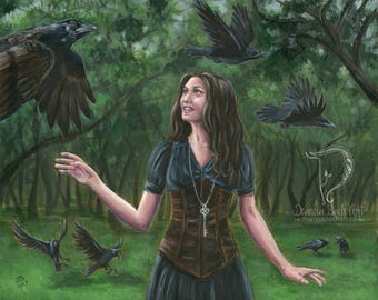 The 7 Ravens - fantasy fairy gothic art print by Deanna Bach