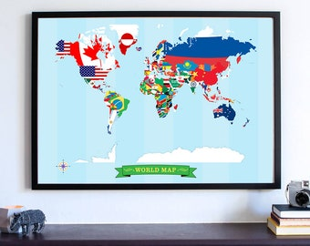 Flags, World Map With Flags, Wall Art Print, Wanderlust Poster, Gifts For Her, Map Your Travels, Man Cave Decor, Home Decor, Flag Art Poster