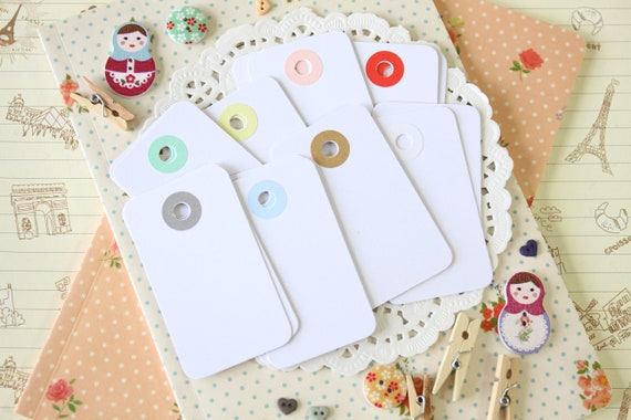 Smooth White reinforced color holes Rounded Midi Tags