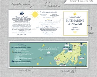 Custom Wedding Map, Wedding Invitation Map -- Newport, RI