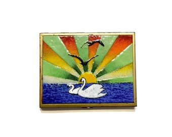 Vintage Enamel on Copper Compact / Stash Box / Business Card Case / Cosmetic Case