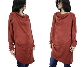 Longsleeve Cowl Neck Pullover Asymmetrical Hem Reddish Brown Terra Cotta Viscose Knit Sweater Tunic Women Tee Top Size 2 To Size 16
