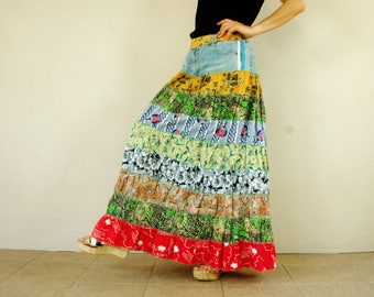 Fantasy Muticolor Patched Tiered Long Hippie Funky Denim Jean Maxi Skirt