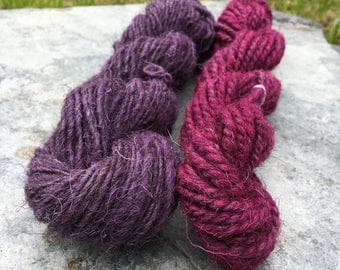 Herdwick Handspun Yarn Pack / Weaving Pack - Hand Dyed Purple and Pink - 100 grams