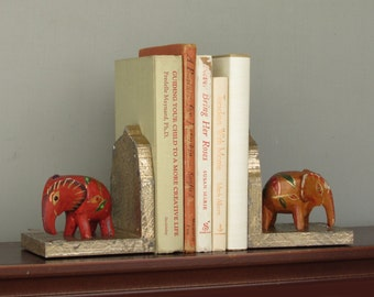 moroccan style - handcrafted elephant bookends - India Gold -boho decor