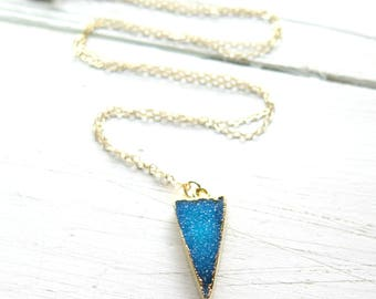 Blue Druzy Necklace / Druzy Necklace in 14K Gold / Druzy Statement Necklace / Bohemian Layering Necklace / Boho Luxe Light Blue Gold Gifts