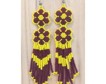 Purple and Yellow Beaded Earrings