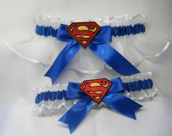 Handmade superman wedding prom garters royal blue and white garter