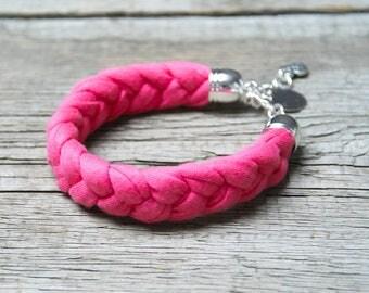 TASSEL bracelet, cotton  bracelet, summer accessories, braided bracelet upcycled jersey, pink summer bracelet, frindship bracelet, gift idea