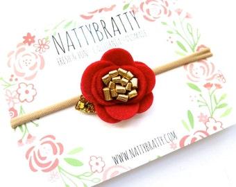 Red Felt Flower Headband Hair Clip - Bright Scarlet Flower Hairband - Christmas - Gold Glitter Leaf - Nylon Headband - Newborn Baby Child