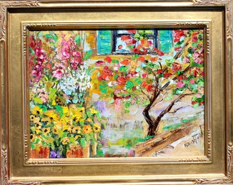 Provence Sunshine and Flowers painting original oil 9x12 framed abstract palette knife impressionism on canvas fine art by Karen Tarlton