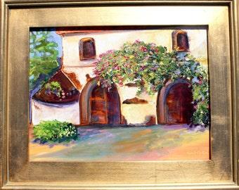 Tuscany Villa Spring Morning painting original oil framed abstract palette knife impressionism on plein air panel fine art by Karen Tarlton