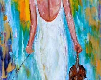 Girl with Violin painting musical series - palette knife oil paint impressionism and mixed media on canvas art by Karen Tarlton