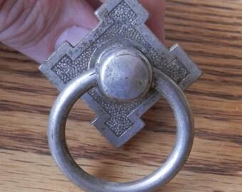 one (1) antique eastlake style nickle ring pulls original