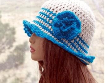 Crochet Womens Sun Hat  Summer  hat flapper  hat womens sun hat brim hat womens  brim  hat roll up brim summer hat womens hats