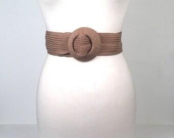 Vintage 1989s Taupe Woven Belt Plus Size
