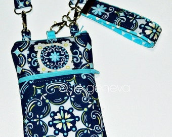 Navy Blue Damask Phone Case  with Wristlet and Optional Shoulder Strap -  Zipper Closure - Aqua Damask Floral Hearts iPhone 5 6 6S 6Plus