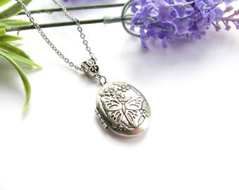 Butterfly Oval Locket, Antique Silver Locket, Picture Necklace, Delicate Locket, Designer Locket, Stainleless Steel Chain