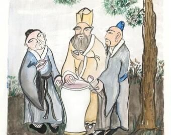 The Vinegar Tasters: Buddha, Confucius, Lao Tzu zen painting, zen decor, japan tea art, buddhist Taoist painting, asian wall art