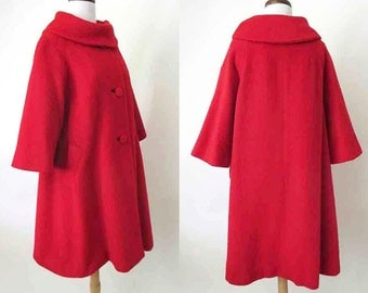 "CLEARANCE Killer 1950's ""Lilli Ann of Paris""  Designer Red Swing Coat Rockabilly Pinup Girl Vintage Chic Coat size Medium"