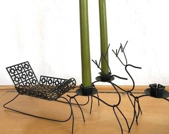 Vintage Metal Deer Candle Holders and Sleigh Mid Century Decor