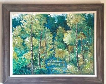 Vintage Signed Palette Knife Oil on Board Trees Painting Artist Mary H. Burke