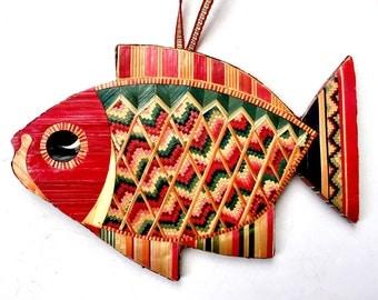 Vintage Straw Fish Ornament, Folk Art Straw Fish Vintage Christmas Ornament, Woven Straw Fish, Flat Fish Colorful Ornament, Pisces Fish