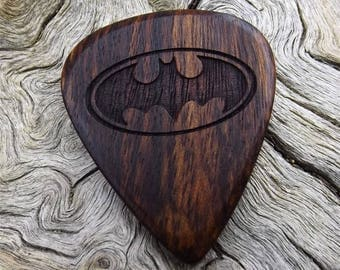 Wood Guitar Pick - Premium Quality - Handmade From Caribbean Rosewood - Laser Engraved On Each Side - Artisan Guitar Pick - Batman Tribute