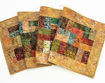 """Quilted Batik Table Runner - 17.25"""" x 57.75"""" - Autumn Earth Tones Table Quilt - Sticks and Stones Batiks - Fall Table Runner"""